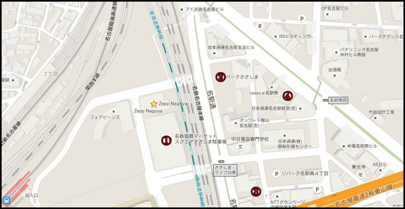 zepp nagoya周辺の駐車場!満車知らずで安いパーキングを紹介!駐車場マップ
